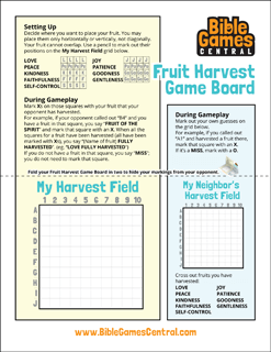 Fruit Harvest Game Board