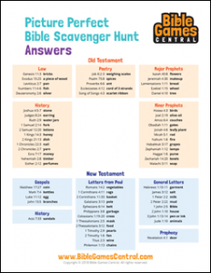 Bible Scavenger Hunt Answers