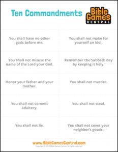 Ten Commandments Cards