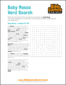 Bible Word Search Baby Moses