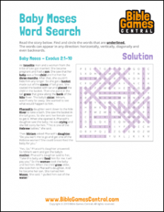 Bible Word Search Baby Moses Solution