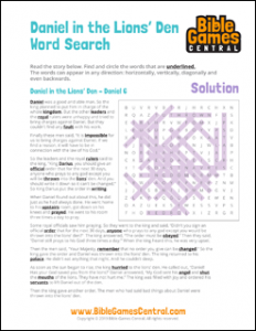 Bible Word Search Daniel in the Lions Den Solution