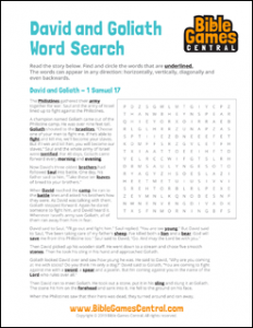 Bible Word Search David and Goliath