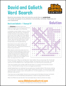 Bible Word Search David and Goliath Solution