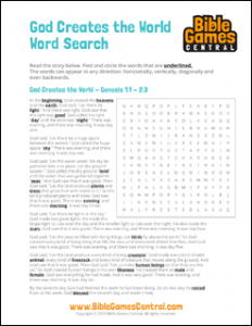 Bible Word Search God Creates the World