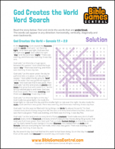 Bible Word Search God Creates the World Solution
