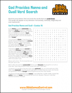 Bible Word Search God Provides Manna and Quail