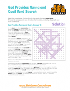 Bible Word Search God Provides Manna and Quail Solution