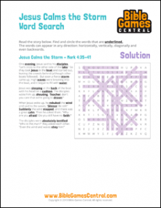 Bible Word Search Jesus Calms the Storm Solution