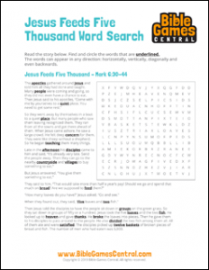 Bible Word Search Jesus Feeds Five Thousand