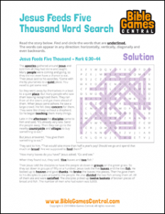 Bible Word Search Jesus Feeds Five Thousand Solution