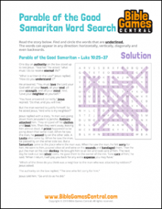 Bible Word Search Parable of the Good Samaritan Solution