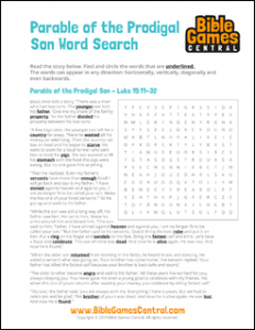 Bible Word Search Parable of the Prodigal Son
