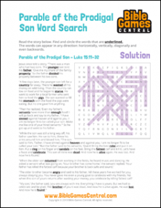 Bible Word Search Parable of the Prodigal Son Solution