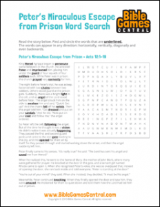 Bible Word Search Peters Miraculous Escape from Prison