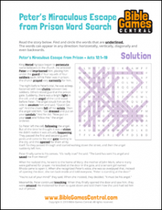 Bible Word Search Peters Miraculous Escape from Prison Solution