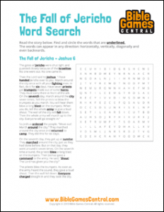 Bible Word Search The Fall of Jericho