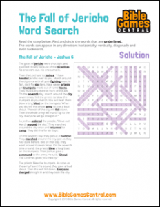 Bible Word Search The Fall of Jericho Solution