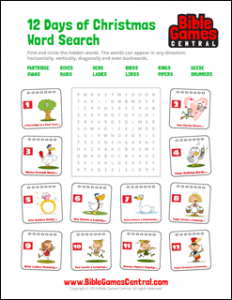 12 Days of Christmas Word Search