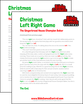 Christmas Left Right Game Printable