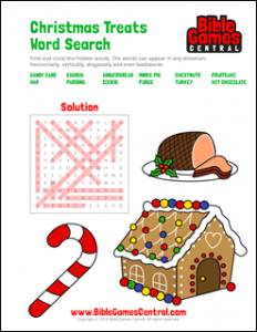Christmas Treats Word Search Solution