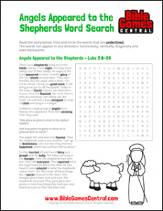 Christmas Word Search Angels Appeared to the Shepherds