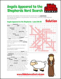 Christmas Word Search Angels Appeared to the Shepherds Solution