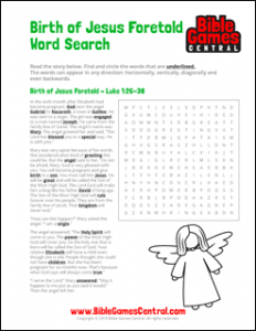 Christmas Word Search Birth of Jesus Foretold