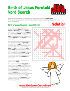 Christmas Word Search Birth of Jesus Foretold Solution