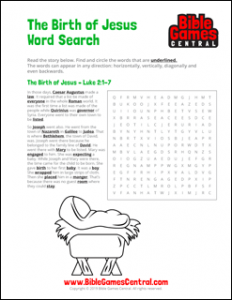 Christmas Word Search The Birth of Jesus
