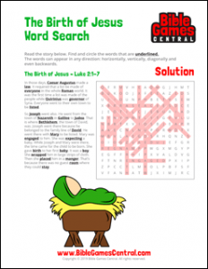 Christmas Word Search The Birth of Jesus Solution