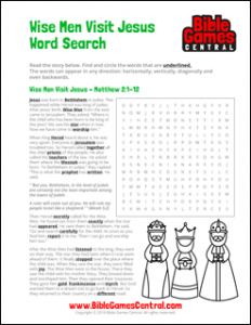 Christmas Word Search Wise Men Visit Jesus