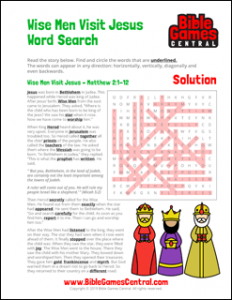 Christmas Word Search Wise Men Visit Jesus Solution
