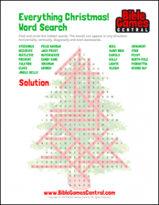 Everything Christmas Word Search Solution