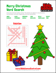 Merry Christmas Word Search Solution