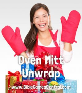 Oven Mitt Unwrap Christmas Game