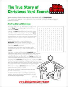True Story of Christmas Word Search