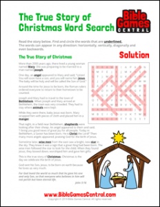True Story of Christmas Word Search Solution