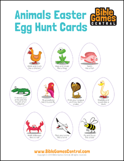 Animals Easter Egg Hunt Cards