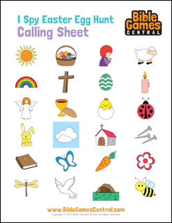 I Spy Easter Egg Hunt Calling Sheet