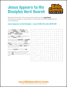 Easter Word Search Jesus Appears to His Disciples