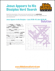Easter Word Search Jesus Appears to His Disciples Solution