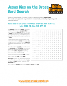 Easter Word Search Jesus Dies on the Cross
