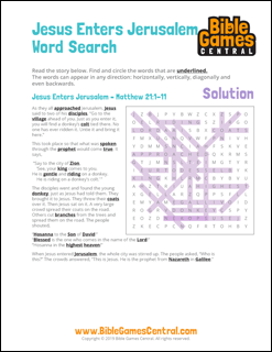 Easter Word Search Jesus Enters Jerusalem Solution
