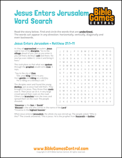 Easter Word Search Jesus Enters Jerusalem