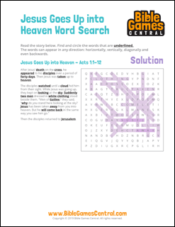 Easter Word Search Jesus Goes Up Into Heaven Solution