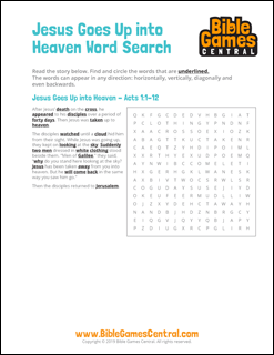 Easter Word Search Jesus Goes Up Into Heaven