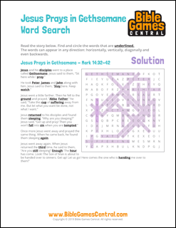 Easter Word Search Jesus Prays in Gethsemane Solution