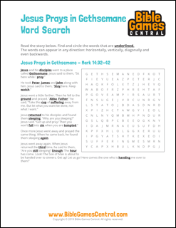 Easter Word Search Jesus Prays in Gethsemane
