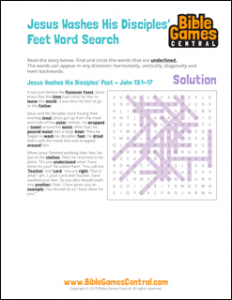 Easter Word Search Jesus Washes His Disciples Feet Solution